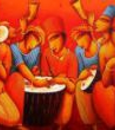 Figurative Acrylic Art Painting title 'Musicians' by artist Samir Sarkar