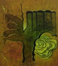 Abstract Oil Art Painting title 'Abstract Fingers' by artist Santosh More