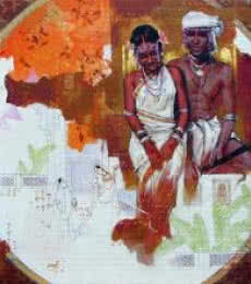 Figurative Acrylic Art Painting title Couple by artist Ramchandra Kharatmal