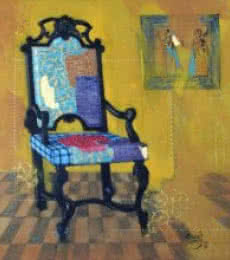 Still-life Acrylic Art Painting title Chair by artist Ramchandra Kharatmal