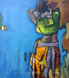 Figurative Acrylic Art Painting title 'Beauty 15' by artist Ramchandra Kharatmal