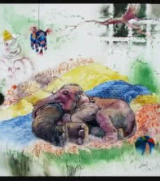 Animals Watercolor Art Painting title 'My MOther' by artist Ramchandra Kharatmal