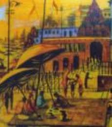 Landscape Acrylic Art Painting title 'Banaras Ghats' by artist Anirban Seth
