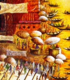 Landscape Acrylic Art Painting title Morning Light In Varanasi Iii by artist Anirban Seth