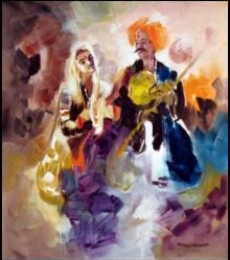 Figurative Acrylic Art Painting title 'Folk Musicians' by artist Kariyappa Hanchinamani