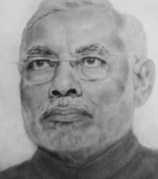 Traditional Indian art title Narendra modi sketch on Paper - Other Paintings