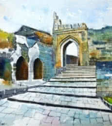 Landscape Watercolor Art Painting title 'Daulatabadfort' by artist Chetan Agrawal