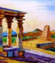 Landscape Watercolor Art Painting title 'Hampi' by artist Chetan Agrawal