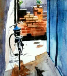 Cityscape Watercolor Art Painting title 'Watercolor 1' by artist Chetan Agrawal