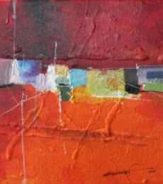 Abstract Mixed-media Art Painting title 'Remnant AM03' by artist Amrish Malvankar