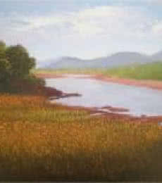 Landscape Oil Art Painting title Farmer Paradise by artist Fareed Ahmed