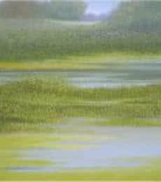 Landscape Oil Art Painting title The Puddle by artist Fareed Ahmed
