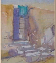 Cityscape Watercolor Art Painting title 'Old Door' by artist Fareed Ahmed
