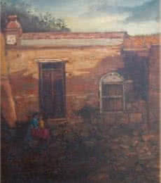 Cityscape Oil Art Painting title 'Village Home' by artist Fareed Ahmed