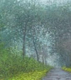 Landscape Oil Art Painting title Road less traveled 2 by artist Fareed Ahmed