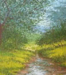 Landscape Oil Art Painting title 'Greenery with stream' by artist Fareed Ahmed