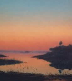 Landscape Oil Art Painting title 'Sunset' by artist Fareed Ahmed