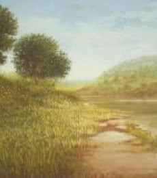 Fareed Ahmed Paintings | Oil Painting - River view by artist Fareed Ahmed | ArtZolo.com