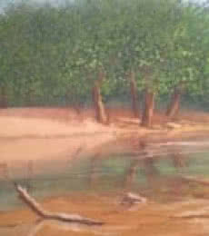 Landscape Oil Art Painting title 'Riverside' by artist Fareed Ahmed