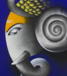 Somnath Bothe | Mixed-media Painting title Mayuresh Ganesha on Canvas | Artist Somnath Bothe Gallery | ArtZolo.com
