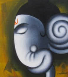 Somnath Bothe | Acrylic Painting title Yogdeepa Ganesha on Canvas | Artist Somnath Bothe Gallery | ArtZolo.com
