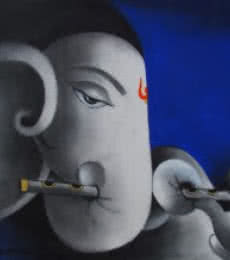 Somnath Bothe | Mixed-media Painting title Kaveesha Ganesha on Canvas | Artist Somnath Bothe Gallery | ArtZolo.com
