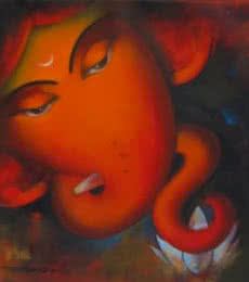 Somnath Bothe | Acrylic Painting title Ganadhipati Ganesha on Canvas | Artist Somnath Bothe Gallery | ArtZolo.com