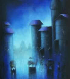 Cityscape Acrylic Art Painting title Blue Night by artist Somnath Bothe