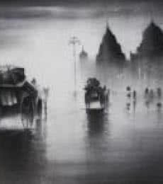 Cityscape Charcoal Art Drawing title Rhythmic Monsoon I by artist Somnath Bothe