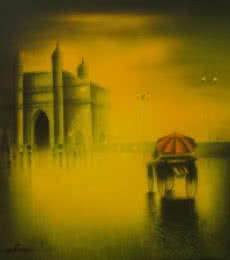 Cityscape Acrylic Art Painting title Gateway Of India by artist Somnath Bothe
