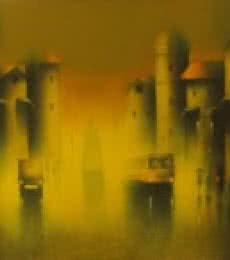 Somnath Bothe | Acrylic Painting title Golden Night on Canvas | Artist Somnath Bothe Gallery | ArtZolo.com