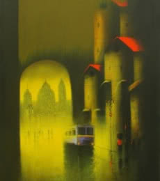 Somnath Bothe | Charcoal Painting title Golden Night on Canvas | Artist Somnath Bothe Gallery | ArtZolo.com
