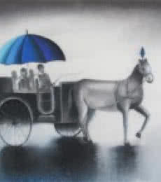 Somnath Bothe | Mixed-media Painting title Monsoon Ride on Canvas | Artist Somnath Bothe Gallery | ArtZolo.com