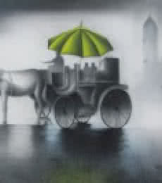 Cityscape Mixed-media Art Painting title 'Monsoon Ride Green' by artist Somnath Bothe