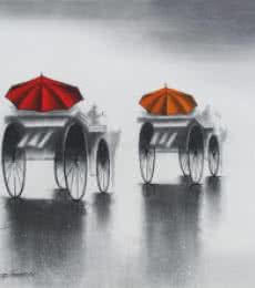 Rhythmic Monsoon VI   Painting by artist Somnath Bothe   mixed-media   Canvas