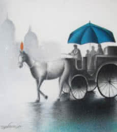 Cityscape Mixed-media Art Painting title 'Rhythmic Monsoon Blue' by artist Somnath Bothe