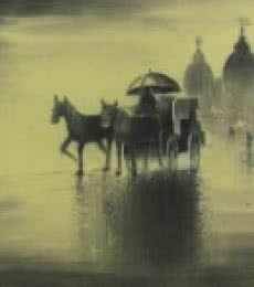 Rhythmic Monsoon Ride | Drawing by artist Somnath Bothe |  | charcoal | Canvas