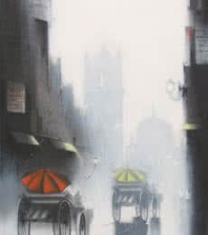Somnath Bothe | Mixed-media Painting title Rhythmic Monsoon Ride 2 on Canvas | Artist Somnath Bothe Gallery | ArtZolo.com