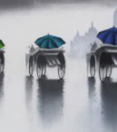 Cityscape Mixed-media Art Painting title 'Rhythmic Monsoon Ride 3' by artist Somnath Bothe