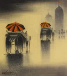Cityscape Charcoal Art Drawing title 'Rhythmic Monsoon V' by artist Somnath Bothe