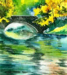 Floods R | Painting by artist Anil Nene | watercolor | Paper