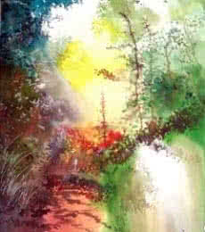 Landscape Watercolor Art Painting title 'Back To Jungle' by artist Anil Nene