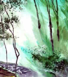 Anil Nene Paintings | Watercolor Painting - Falling Light by artist Anil Nene | ArtZolo.com