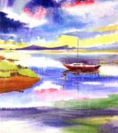 Boat N Colors | Painting by artist Anil Nene | watercolor | Paper