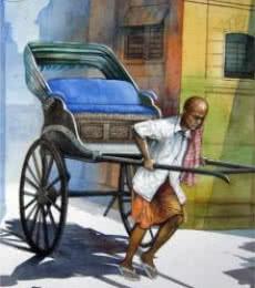 Rickshawwala 1 | Painting by artist RD Roy | watercolor | Paper