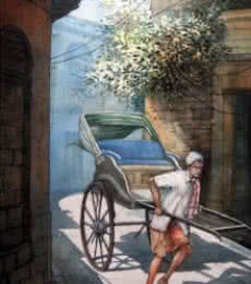 Rickshawwala 2 | Painting by artist RD Roy | watercolor | Paper