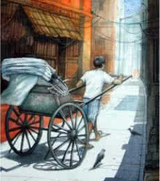 Figurative Watercolor Art Painting title 'Rickshawwala 3' by artist RD Roy