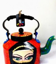 Arabian Lady Tea Kettle | Craft by artist Rithika Kumar | Aluminium