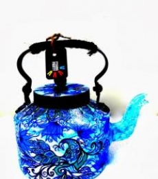 Blue Peacock Tea Kettle | Craft by artist Rithika Kumar | Aluminium
