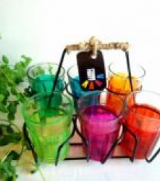 Color Splash Cutting Chai Glasses | Craft by artist Rithika Kumar | Glass